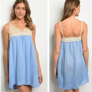 HAYDEN Los Angeles Babydoll Dress Blue Siz…